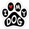 I Love My Dog Paw Magnet for Car or Fridge