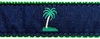Palm Tree Navy and Green Ribbon Dog Collar SaltyPaws.com