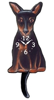 Miniature Pinscher Wagging Tail Clock www.SaltyPaws.com