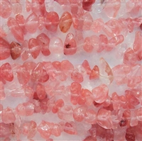 Cherry Quartz chip bead string 36""