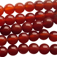 Red carnelian round bead string