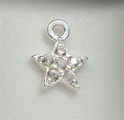 white sapphire star sterling silver charm