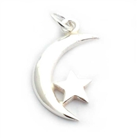 moon & star charm st. silver pendant