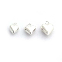 7mm puff heart charm st. silver