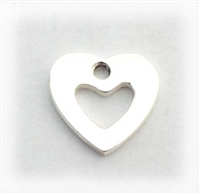 8mm flat open heart charm st. silver