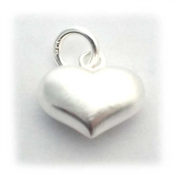 14mm puffed heart s/ brushed st. silver