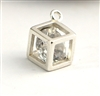 sterling silver cube charm with zircon crystal