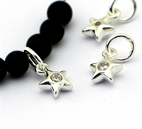 Sterling Silver baby puff Star charm w/ zirconia centre