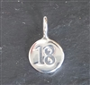sterling silver round number charm -18