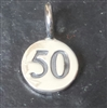 sterling silver round number charm -50