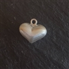 10mm sand brushed sterling silver puff heart