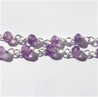 SALE ! amethyst sterling silver gemstone chain per inch