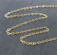 gold filled cable chain 1.3x1.8mm links price per foot