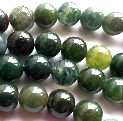 Green Moss Agate round beads string