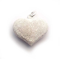 20mm puff heart pendant stardust st. silver