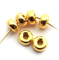 5mm donut beads gold on silver (10)
