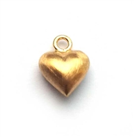 6mm puff heart s/ brushed gold on st. silver