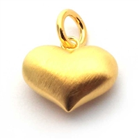 14mm puff heart s/ brushed gold on st. silver