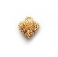 6mm puff heart stardust gold on st. silver