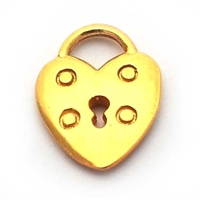 heart lock charm gold on st. silver