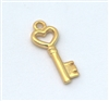 heart key charm gold on sterling silver