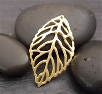 gold skeleton leaf charm gold on sterling silver