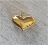 10mm puff heart gold on sterling