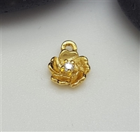 5mm gold plated st. silver flower charm