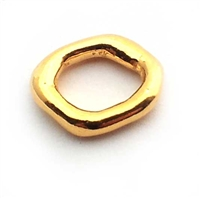 irregular ring 10x8mm gold on st.silver