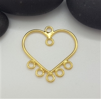 heart chandelier gold on silver