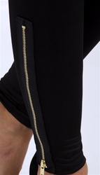 Leggings with Gold Side Zipper