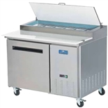 Arctic Air 48-Inch Wide One Door Refrigerated Pizza Prep Table, 12 Cubic Feet With (6) 1/3 Size Pans, (APP48R)