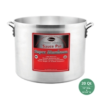 "Winco AXHA-20 Winware Heavy Duty Super Aluminum Sauce Pot - 20 Qt., 6mm ( 1/4"") Thick"