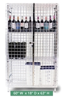"Heavy-Duty Chrome Plated Wire Security Cage - Size 60"" wide x 18"" deep x 63"" high (CMSC186063)"