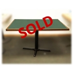 Used 46 x 30 Green Table with Walnut Wood Edge