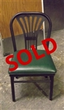 Used Fan Back Metal Chair with Green Seat