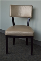 USED - Brown Colored Metal Frame Restaurant Dining Chair with Champagne Gold Colored Textured Vinyl Seat and Back