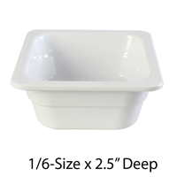 "Thunder Group Gastronorm Melamine Plastic Steam Table Pan - One-Sixth Size, 2.5"" Deep (GN1162W)"