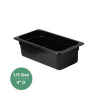 "Thunder Group Black Polycarbonate Food Pan - Third Size, 4"" Deep (PLPA8134BK)"