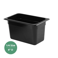 "Thunder Group Black Polycarbonate Food Pan - Quarter Size, 6"" Deep (PLPA8146BK)"