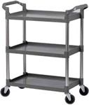 Bus Cart Plastic 3-Shelf 130 lb Capacity - Black