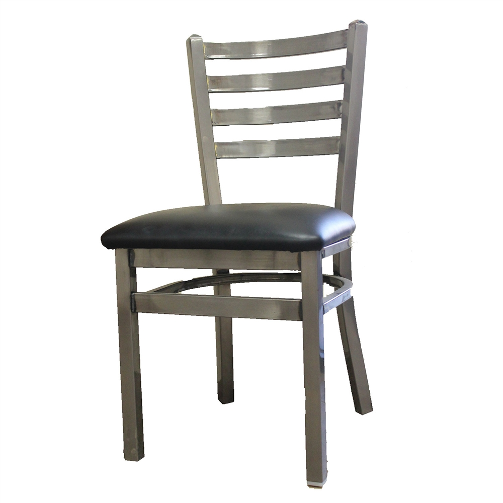 Metal Chair with Ladder Back and Black Vinyl Seat Restaurant
