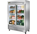 True 54-Inch (2) Glass Door 49 Cu.Ft. Bottom Mounted Reach-In Refrigerator, (T-49G-LD)
