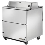 True 34-inch White Dual Sided Milk Cooler with Stainless Steel Interior, (TMC-34-DS-SS)