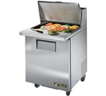 True 27-Inch 6.5 Cu.Ft. (1) Door Sandwich / Salad Prep Table, With (9) 1/6 Pans, (TSSU-27-12M-B-HC)
