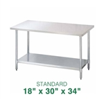 "Stainless Steel Work Table - 18"" x 30"""