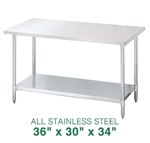 "All Stainless Steel Work Table - 36"" x 30"""