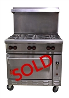 "USED - Wolf Challenger XL Gas 6-Burner Commercial Restaurant Range with Standard Oven - 36"" Wide"