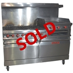 USED - Vulcan 260L 60 Inch Wide Natural Gas Restaurant Range with 6-Burners, raised 24 Inch Griddle-Broiler, and Double Standard Ovens