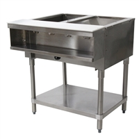 Advance Tabco Natural Gas Water Bath Steam Table 2 Wells, Open Base, 15,000 BTU (WB-2G-NAT)